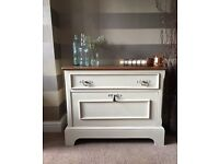 Beautiful Vintage Side Table or Tv Cabinet Cream Shabby Chic