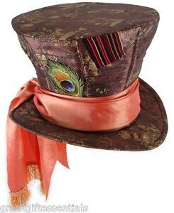 DISNEY Mad Hatter Alice in Wonderland Top Hat Adult Brown Party Depp Madhatter