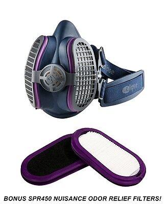 Gvs Elipse Spr457 P100 Half Mask Respirator Bonus Nuisance Odor Filters Ml