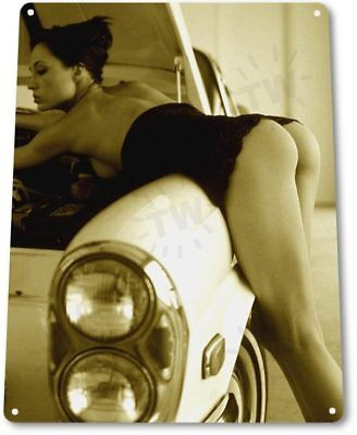 Try It Pinup Girl Sexy Hot Rod Car Garage Auto Shop Man Cave Decor Metal Sign