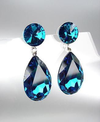 EXQUISITE Blue Topaz Teardrop Crystals Dangle Earrings PROM PAGEANT DRAG BRIDAL (Blue Topaz Dangling Earrings)