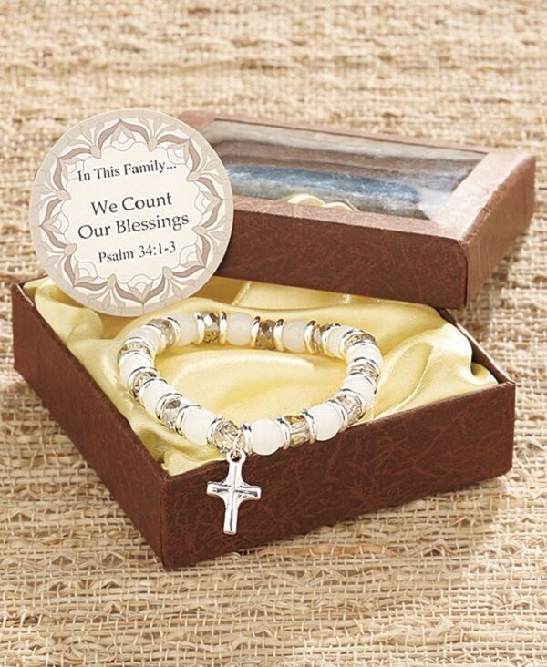 GIFT BOXED FAMILY PRAYER CHARM BRACELET - WE COUNT OUR BLESSINGS