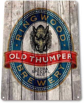 Old Thumper Ringwood Brewery Beer Retro Bar Man Cave Wall Decor Metal Tin -
