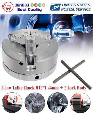 Metal 3 Jaw Lathe Chuck M121 45mm Self Centering Hardened 2pcs Lock Rods Usa