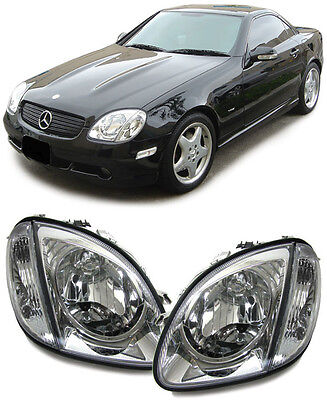 Mercedes SLK R170 96-04   KLARGLAS H4 SCHEINWERFER MIT BLINKER CHROM