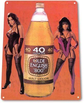 Olde English Beer Retro 80's Logo Bar Pub Man Cave Wall Decor Metal Tin Sign