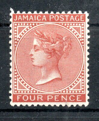 JAMAICA , 1883 , very scarce classic 4 p . watermark CA/crown , MH ! CV US $ 600