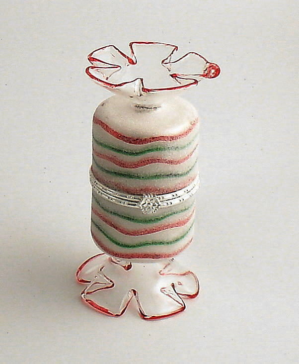 Glass Striped Candy Container Christmas Tree Ornament