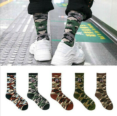 1 PAIR MEN WOMEN A BATHING APE BAPE 1ST CAMO SHARK SOCKS CASUAL ANKLE SOCKS