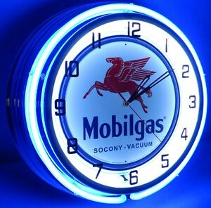 MOBIL-GAS-OIL-18-DOUBLE-NEON-LIGHT-WALL-CLOCK-SIGN-CAR-TANKER-TRUCK-PUMP-ONE-1