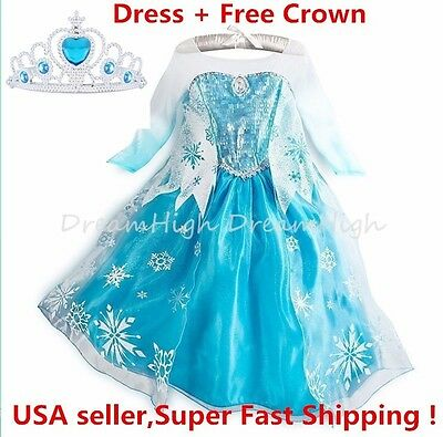 Girls Kids Dress Frozen Elsa Anna Party costume Princess +  Free Crown 2-10Y - Anna Crown Frozen