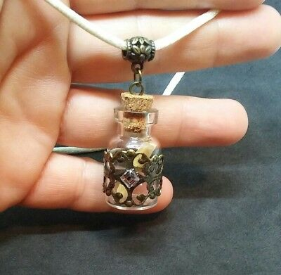 TINY GLASS VIAL CHARM MESSAGE IN A BOTTLE PENDANT WHITE NECKLACE ()