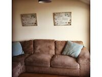 Corner sofa with storage footstool