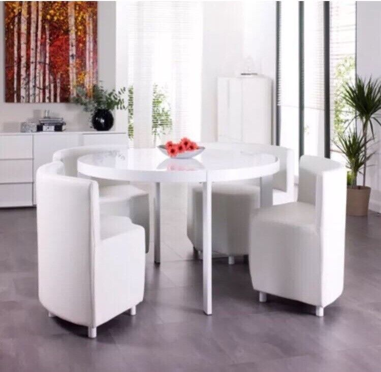 Fine Rotunda White Dining Table Set X 4 Chairs Very Good Condition In Salford Manchester Gumtree Home Interior And Landscaping Ologienasavecom