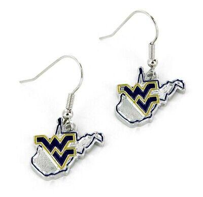 West Virginia Mountaineers NCAA State Design Charm Silver Dangle Earrings Set