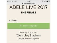TWO tickets for ADELE Saturday 1st July 17 at WEMBLEY General Admission STANDING