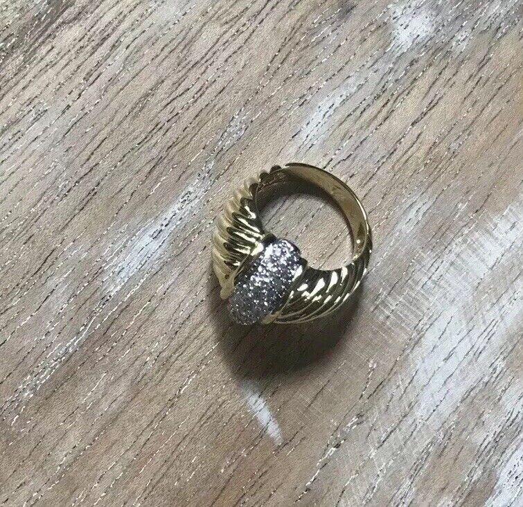 David Yurman 18k Yellow Gold Dome Diamond Metro Cable Ring Size 6