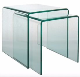2 glass nested side tables, clear, tempered glass