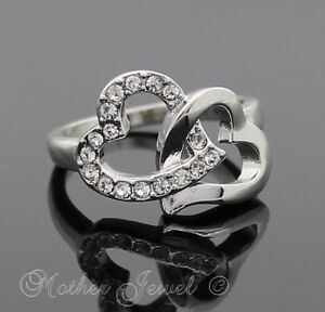 18CT-WHITE-GOLD-PLATED-WEDDING-WOMENS-GIRLS-DOUBLE-HEART-DESIGNER-RING-SIZE-6