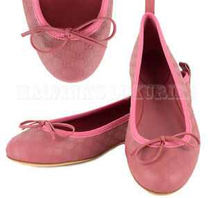 GUCCI-SHOES-MICRO-GUCCISSIMA-LEATHER-BALLERINA-FLATS-WITH-BOW-ROSE-39-5-US-9-5