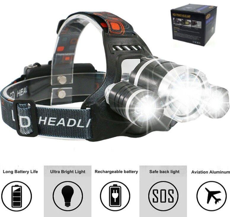 Stirnlampe Kopflampe Cree LED. Boruit. 500 Meter Zoom, USB-Ladesystem, 2x Akku