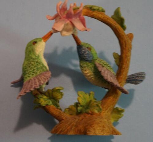 HUMMINGBIRD PAIR FEEDING FIGURINE