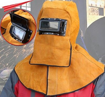 Leather Welding Hood Fire Flame Retardant Protective W Darkening Goggle Tool