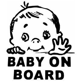 Baby On Board Vinyl Decal - Various Colours - Custom Made - £2.00 each