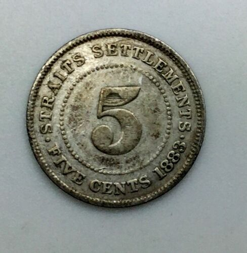 1883  Straits Settlements  Five Cents  KM# 10 Victoria Silver Coin Rare  Date