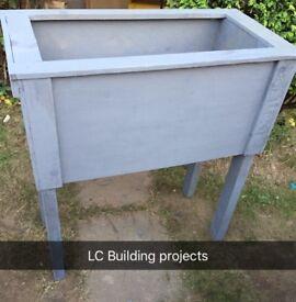 Large wooden planter box