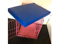 Pink Puppy Dog Cage Crate with Mat Chew Resistant and Waterproof
