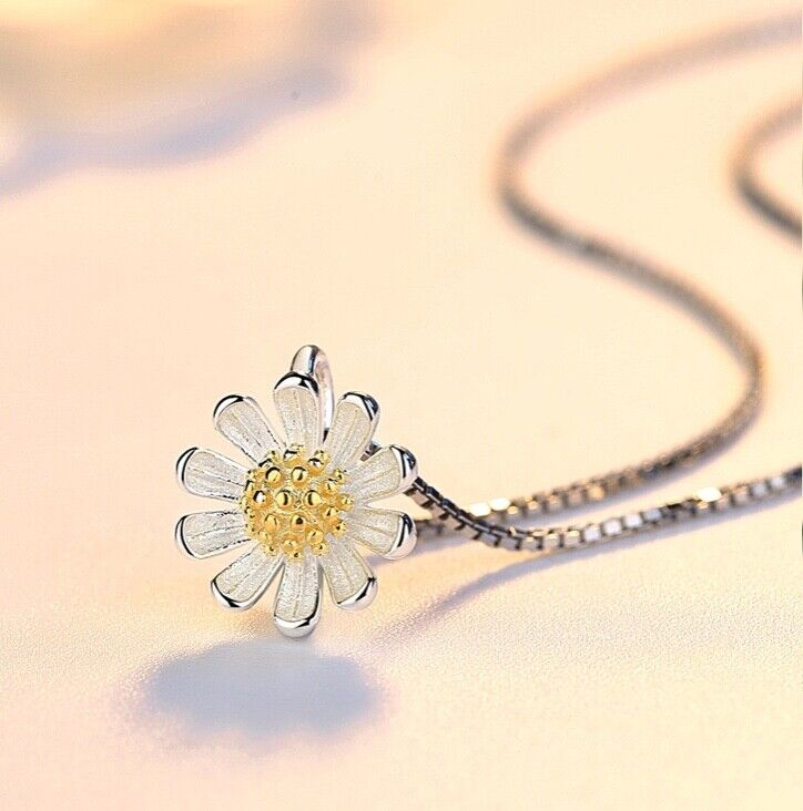 Jewellery - 925 Sterling Silver Lovely Daisy Pendant Chain Necklace Womens Jewellery Gift