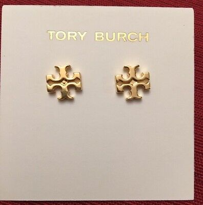 AUTHENTIC TORY BURCH LOGO STUD EARRINGS-SHINY GOLD -RV $75-NEW!