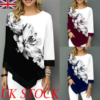 Womens Long Sleeve Floral Tops Ladies Irregular Casual Loose T-Shirt Blouse Tee