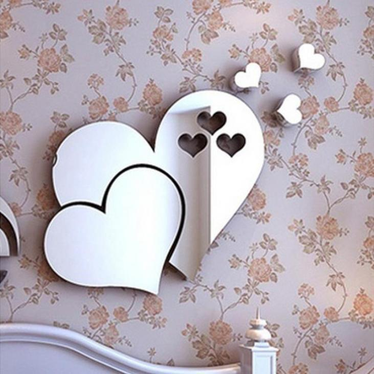 Home Decoration - 3D Mirror Love Heart Wall Sticker DIY Home Room Office Art Mural Decor Removable