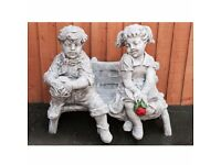 LARGE CONCRETE GARDEN ORNAMENT OF A BOD & GIRL ON BENCH HORSE & CART BIRD BATHS HARLEYS WINDMILLS