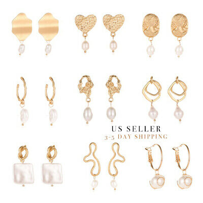 Geometric Irregular Circle Baroque Pearl Earrings Metal Gold Drop Dangle  Baroque Pearl Drop Earrings
