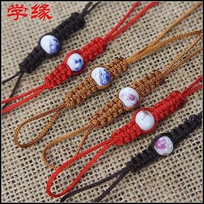 Rope Blue and white porcelain beads Pot of rope 2pcs/lot pot lid string macrame](Blue And White String)