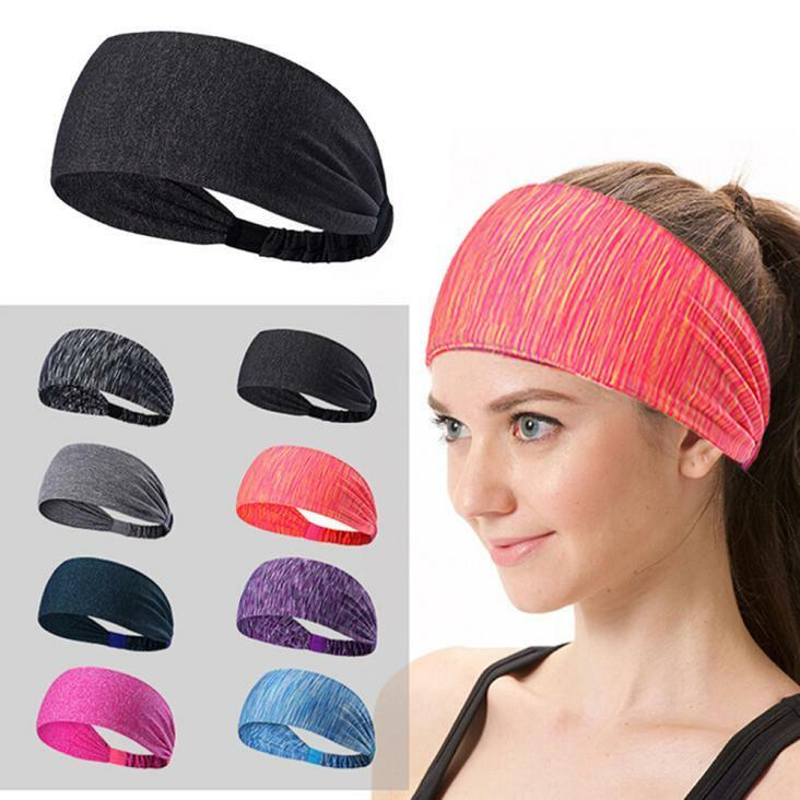 Lady Elastic Sport Yoga Headband Cotton Knotted Turban Head Warp Wide Hair Band