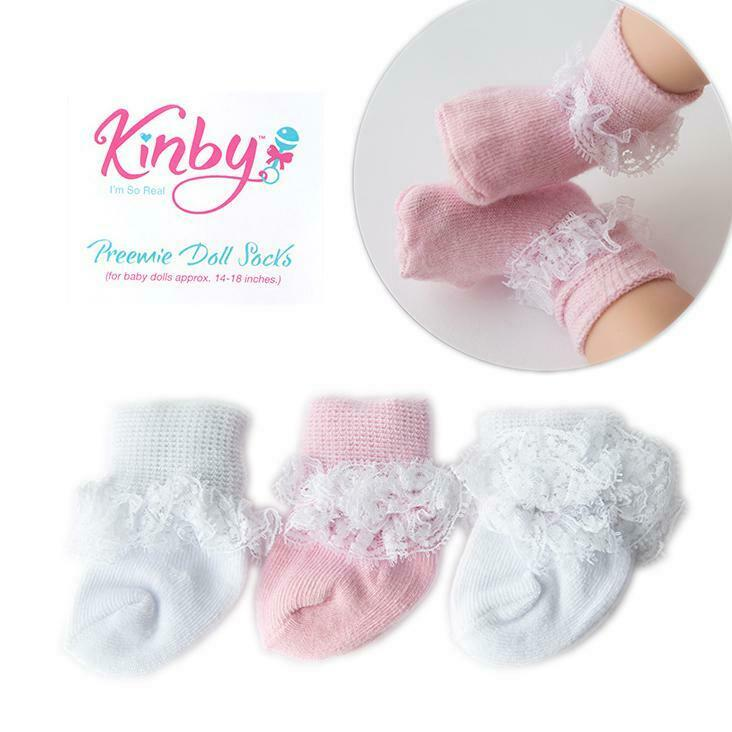 Pink and White Lace Socks - 3 Pack ~ Kinby ~ Preemie Size Baby Girl Doll Clothes