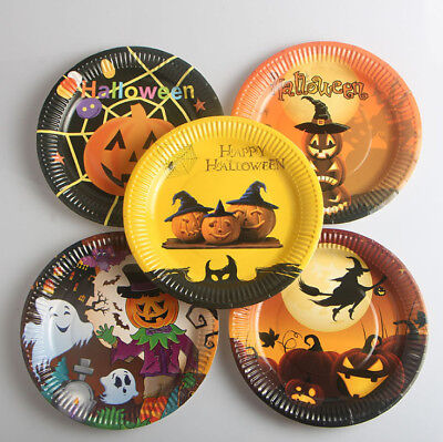 10 20pcs Halloween Pumpkin Witch Paper Plates Tray Dishes For Party Bar Decor