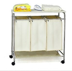 3 in1 clean dirty clothing washing laundry sorter hamper basket ironing board ebay. Black Bedroom Furniture Sets. Home Design Ideas