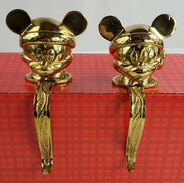 Vintage Disney Mickey & Mini Mouse Mantle Stocking Hangers Holder Heavy Brass