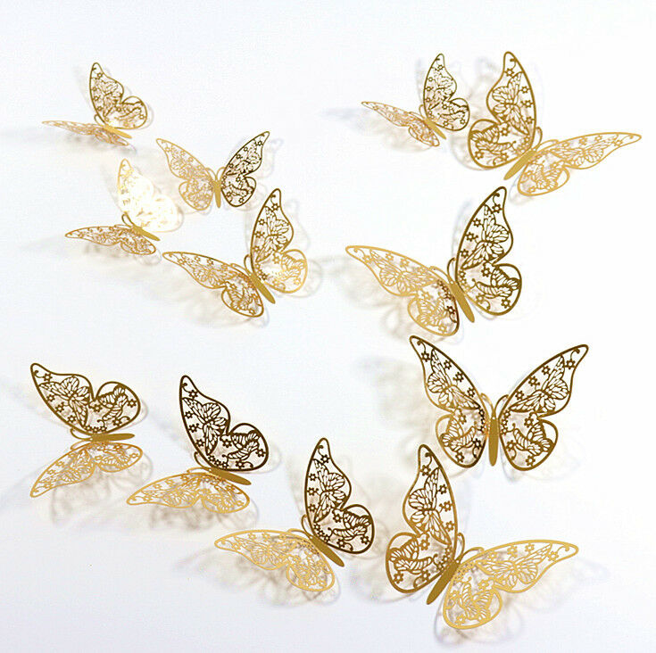 Home Decoration - 12pcs 3D Butterfly Sticker Art Wall Mural Door Decals Home Decor