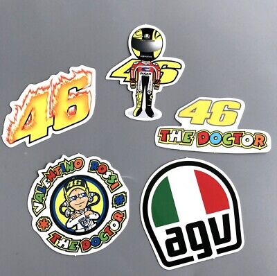 [Lot de 5] Autocollant Sticker Voiture Moto casque Motard Valentino Rossi 46 agv