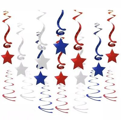 Holiday Party Decorations (Patriotic Stars Hanging Decorations Party Holiday Red Blue Silver Swirl 27)