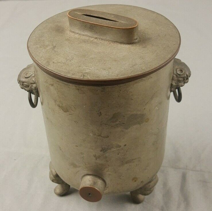 RARE Old Chinese Pewter 3 Part Tea Warmer - Clawfoot - Antique