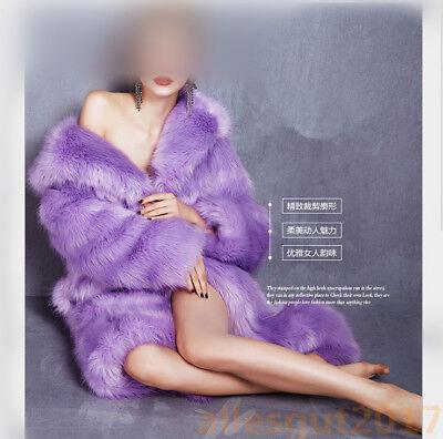 S-3XL Lila Neu Jacke flauschige Lange Elegant Kapuzenmantel Faux-Pelz Damenmode