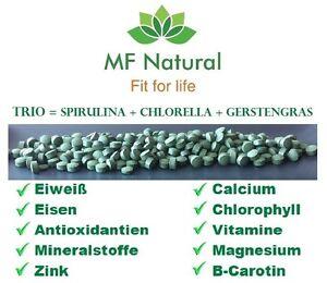 Green Trio 500g,Gerstengras + Chlorella + Spirulina presslinge