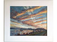 Falmouth Harbour Sunset, Cornwall (2007) by Anne Plummer (Original Acrylic Painting)